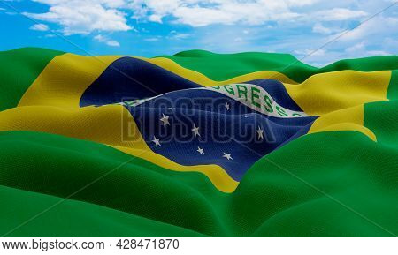 Brazil Flag In The Wind. Realistic And Wavy Fabric Flag. 3d Rendering.