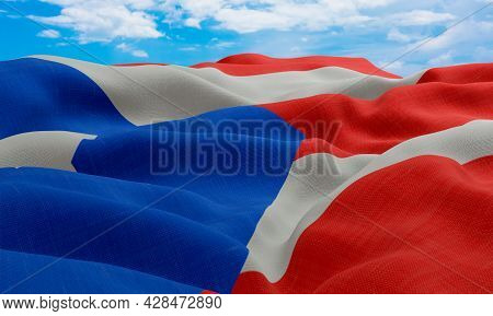 Puerto Rico Flag In The Wind. Realistic And Wavy Fabric Flag. 3d Rendering.