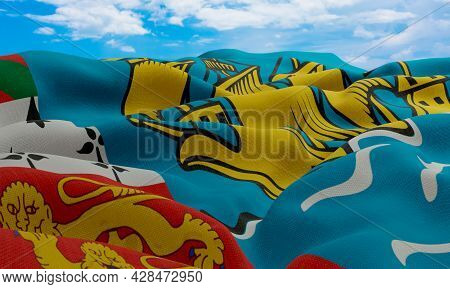 Saint Pierre And Miquelon Flag In The Wind. Realistic And Wavy Fabric Flag. 3d Rendering.
