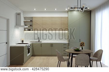 Modern Kitchen In Pastel Colors. Kitchen Furniture Design. Dining Table On The Background Of The Kit