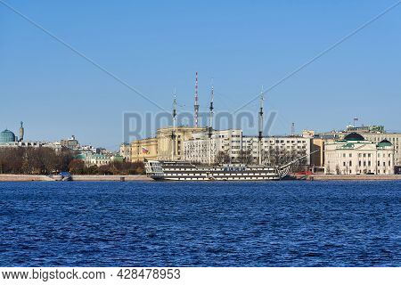 Russia, St. Petersburg, An Old Sailing Ship At The Embankment Of The Neva River
