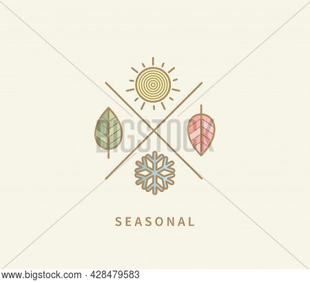 Symbols For Four Seasons. Icon Set With Signs For Hot Summer, Cold Winter, Red Autumn And Green Spri
