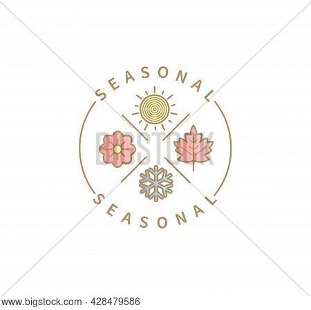 Symbols For 4 Seasons. Icon Set With Signs For Hot Summer, Cold Winter, Red Autumn And Green Spring.