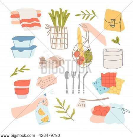 Sustainable Kitchen And Zero Waste Lifestyle. Eco Living Concept. Sustainable Utensils, Mesh Bags An