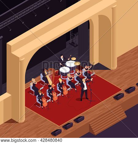 Opera Theatre Isometric Background With Musical Performance Symbols Vector Illustration