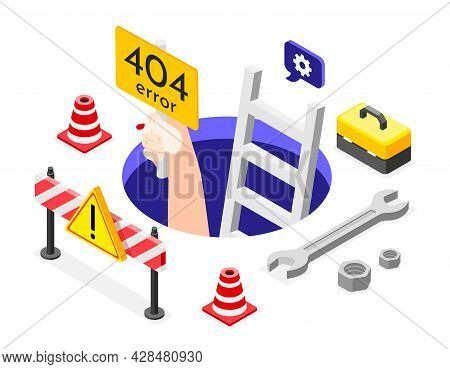 Isometric Error Background Hand Reaches Out From The Hole With The Sign Of Error Four Hundred And Fo