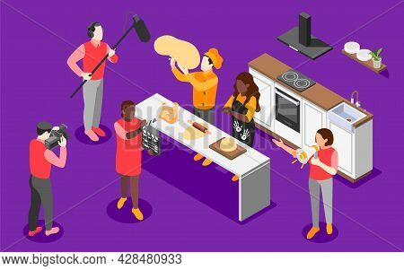 Cooking Show Isometric Background Team On Set Recording A Tv Show About Step By Step Cooking Vector