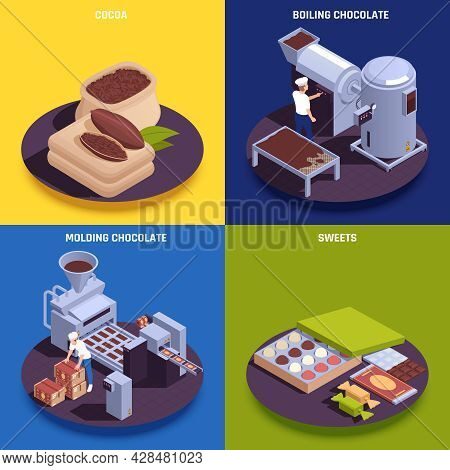 Chocolate Products Manufacturing Process Isometric Compositions With Cocoa Beans Paste Molding Machi