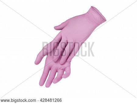 Medical Gloves.two Pink Surgical Gloves Isolated On White Background With Hands. Rubber Glove Manufa