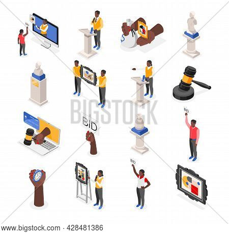 Auction Isometric Recolor Set Of Isolated Icons With Images Of Valuable Items With Characters Of Bid