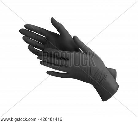 Medical Nitrile Gloves.two Black Surgical Gloves Isolated On White Background With Hands. Rubber Glo