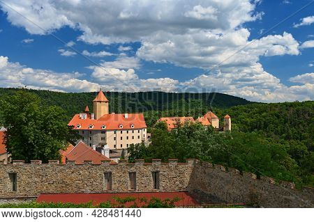 Beautiful Old Castle In The Countryside On A Summer Day And The Sun With Blue Sky.