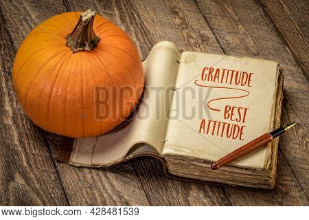 gratitude - best attitude, inspirational handwriting in a retro, leatherbound journal with a pumpkin against rustic wood, fall holiday and Thanksgiving theme