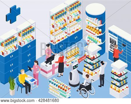 Customers Buying Medication At Modern Pharmacy With Robotic Assistant Health Check And Pickup Point