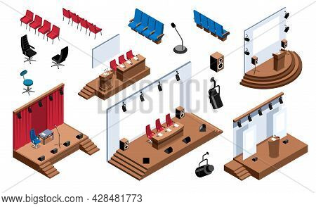 Isometric Conference Hall Stage Presentation Tribune Set With Isolated Icons Of Seats Chairs And Dif
