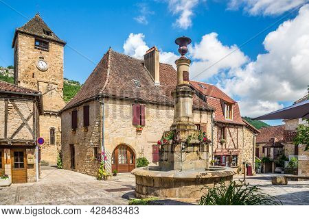 Autoire, France - June 23,2021 - View At The Bell Tower Of Church Of Saint Pierre In Autoire Village