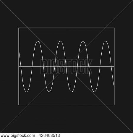Retrofuturistic Sinusoid Signal In The Rectangle Frame. Cyber Retro Design Element. Sinusoid In Cybe