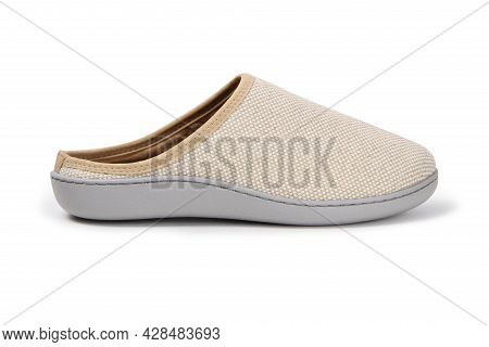Soft Beige Home Slippers, Design Mockup. Hotel Bath Slippers Top View Isolated On White Background.