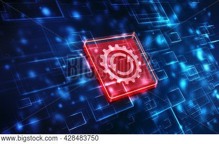 Update Icon With Binary Codes On Technology Abstract Background, Update System Upgrade Software Vers