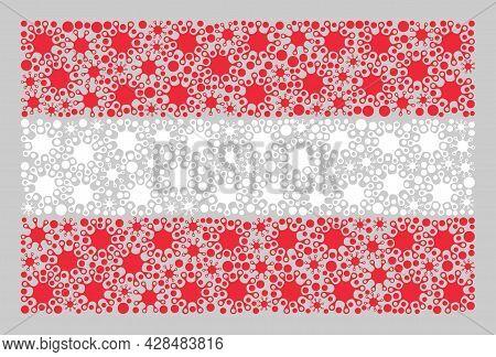 Mosaic Austria Flag Designed Of Bacterium Elements. Vector Coronavirus Collage Austria Flag Designed