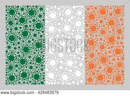 Mosaic Ireland Flag Designed With Bacilla Elements. Vector Covid Collage Ireland Flag Designed For M