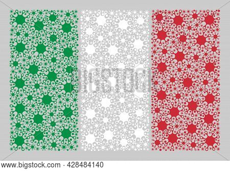 Mosaic Italy Flag Designed Of Cell Items. Vector Covid-2019 Collage Italy Flag Combined For Health C