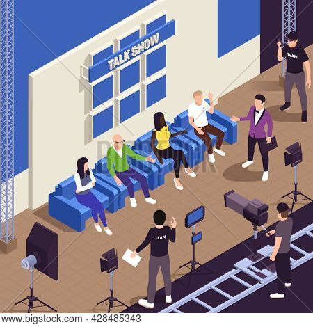 Tv Show Isometric Background With Talk Show Symbols Vector Illustration