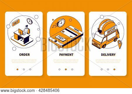 Asian Food Mobile App Design Concept With Order Payment Delivery Steps Isometric Vector Illustration