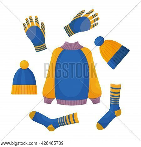 A Set Consisting Of Warm Autumn Clothing, Such As A Sweater,gloves, Warm Socks And Blue-yellow Hats.