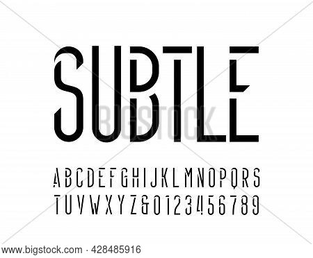Subtle Alphabet Font. Thin Letters And Numbers For Your Logo Or Emblem. Stock Vector Typescript For