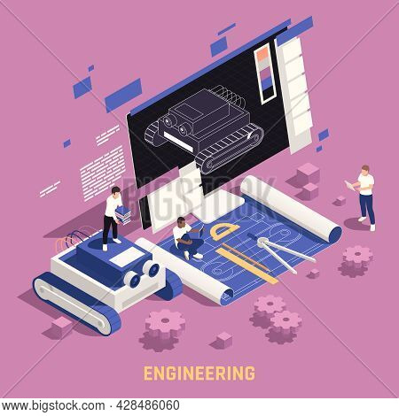 Stem Education Engineering Design Thinking Oriented Program Isometric Composition With Students Mode
