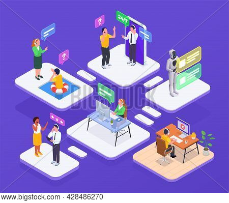 Call Center Composition With Technical Support And Hotline Symbols Isometric Vector Illustration