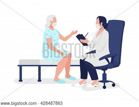 Geriatric Physician Accepting Elderly Patient Semi Flat Color Vector Characters. Full Body People On