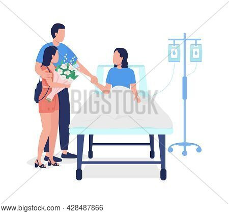 Man With Daughter Visiting Wife In Hospital Semi Flat Color Vector Characters. Full Body People On W