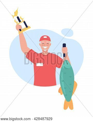 Winning Fishing Tournament 2d Vector Isolated Illustration. Happy Amateur Fisherman With Huge Carp F