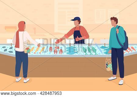 Seafood Market Flat Color Vector Illustration. Buying Fish And Fish Products. Selling Fresh And Froz