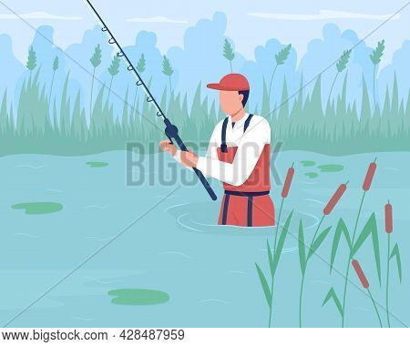 Wade Fishing Flat Color Vector Illustration. Angling Without Boat. Catching Trout And Redfish In Pon