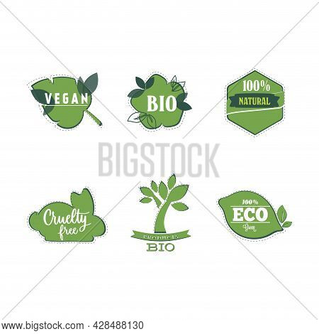 Bio And Vegan Stickers, Natural Product Label For Mark Helpful Food. Vector Cruelty Free And Bio Lab