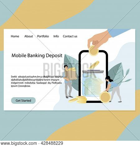 Mobile Banking Deposit Service Landing Page, Concept Safe Money. Vector Desing Banking Department Of