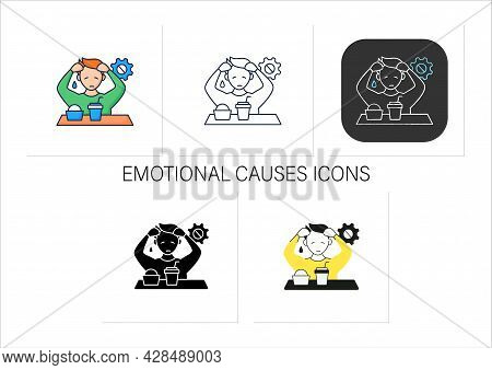 Workaholic Icons Set. Emotional Causes. Stressful Situation. Emotional Burnout Due To Work. Overwork
