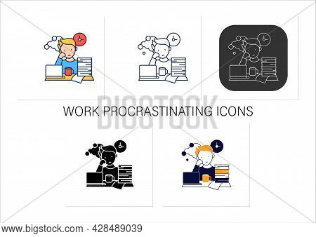 Work Procrastinating Icons Set.unnecessarily Postpone Dealing Work-related Tasks. Tired Person.overl