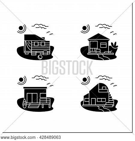 Beach Hut Glyph Icons Set. Modern Facade Comfortable Houses On Beach. Perfect Relax Place. Seascape.