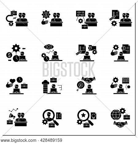 Talent Management Glyph Icons Set.attracting Employees. Recruitment. Talent Development.business Pra