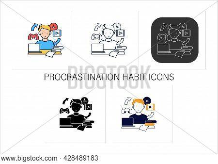 Procrastination Habit Icons Set. Routine Procrastinating Process. Day Plan. Daily Habits. Overload C