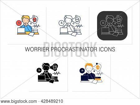 Worrier Procrastinator Icons Set.do Not Start Important, Difficult Tasks. Unbelieve To Do It.scared