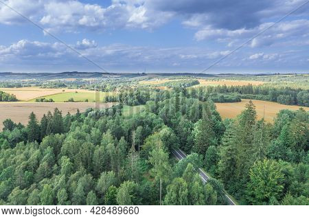 A Forest Complex Called The Green Forest In The Sudeten Foreland In Poland. It Is A Mixed Forest, Th