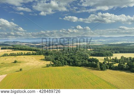 Highlands, Farmlands, Meadows And Clumps Of Trees Photographed From High Altitude With A Drone.\nsud