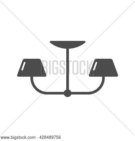 Ceiling Lamp Silhouette Vector Icon Isolated On White Background. Hanging Lamp Furniture Icon For We