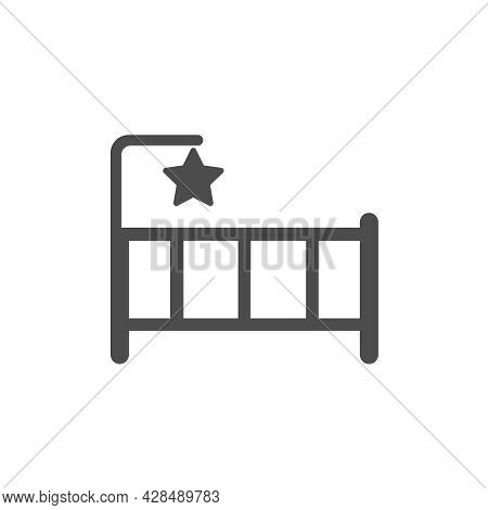 Baby Bed Silhouette Vector Icon Isolated On White Background. Baby Crib Furniture Icon For Web, Mobi