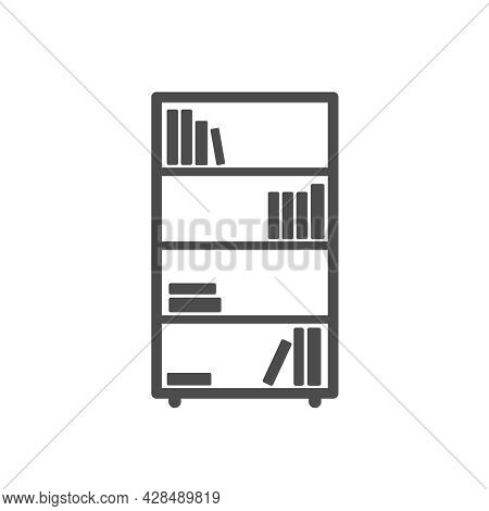 Bookshelf Silhouette Vector Icon Isolated On White Background. Bookcase Furniture Icon For Web, Mobi